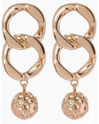 Luv Aj The Chain Link Hammered Ball Drop Earrings - Metallic