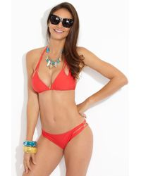 Luli Fama - Reversible Zig Zag Knotted Cut Out Triangle Top - Girl On Fire - Lyst