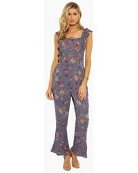 Patrons Of Peace Ruffle Jumpsuit With Smocking - Dusty Blue