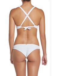 Pilyq Basic Ruched Teeny Bikini Bottom - White