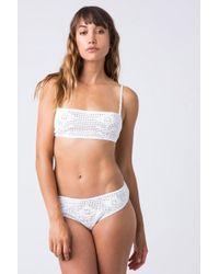 Indah Isabel Crochet Bandeau Bikini Top - White
