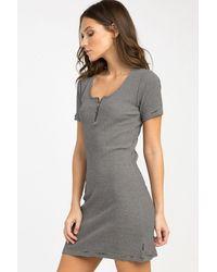 RVCA Zip It Ribbed Mini Dress - Black