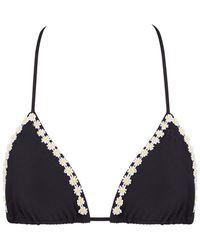 Kovey Slider Daisy Trim Halter Triangle Bikini Top - Black