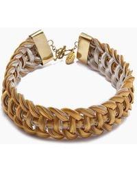Lena Bernard Sidika Woven Gold & Silver Snake Chain Collar Necklace - Metallic