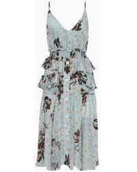 Clube Bossa Ellia Ruffle Button Up Midi Dress - Fleur Blue Print