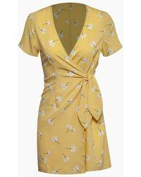 Amuse Society Elena Short Sleeve Wrap Mini Dress - Yellow