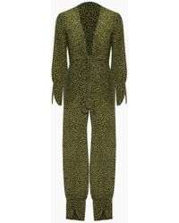 Adriana Degreas Silk Crepe De Chine Jumpsuit - Mille Punti Green Dot Print