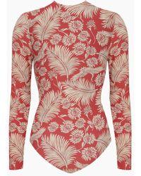 Amuse Society Savanhah Long Sleeve Rashguard Bodysuit - Mahogany Red Tropical Print