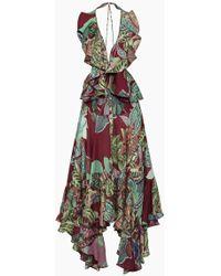 PATBO Samba Racerback Flutter Dress - Purple Tropical Print