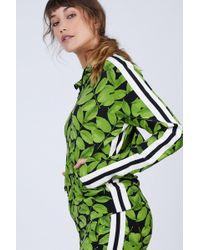 Norma Kamali Side Stripe Turtle Jacket - Tree Leaf/engineered Stripe Print - Green