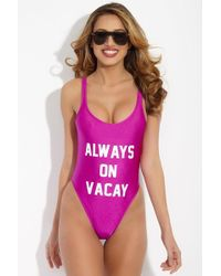 Private Party - Always On Vacay One Piece Swimsuit - Purple And White - Lyst