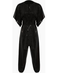 Norma Kamali Rectangle Jog Short Sleeve Jumpsuit - Black
