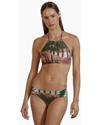 Agua de Coco Halter Neck Bikini Top - Royal Mansour Print - Brown