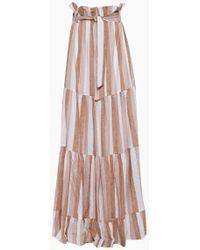 Adriana Degreas Striped Clochard Long Skirt - Porto Rose Stripe Print - Pink