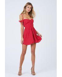 Flynn Skye Bodhi Off The Shoulder Button Front Mini Dress - Cherry Red Polka Dot Print