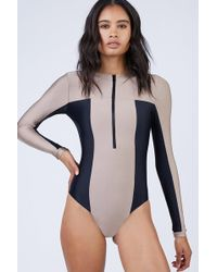 Pilyq Ace Zip Rashguard Bodysuit - Cadillac Nude/black
