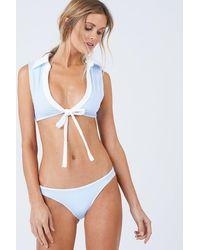 Beach Bunny Lola Wrap Front Tie Bikini Top - Blue