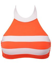 Seafolly Block Party High Neck Bi-color Bikini Top - Nectarine/white - Multicolour