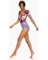 Seea Kiki Short Sleeve Colour Blocked One Piece Swimsuit - Marguerite Print