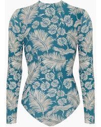 Amuse Society Savanhah Long Sleeve Rashguard Bodysuit - Caribbean Blue Tropical Print