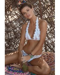 Pilyq - Lace Halter Bikini Top - Water Lily White - Lyst