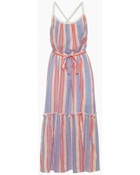 lemlem Fiesta Sun Maxi Dress - Lavender & Orange Stripe Print