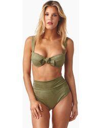 Montce Swim Bustier Bow Bikini Top - Olive Green Faux Suede