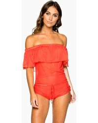 Luli Fama Drifter Off The Shoulder Flounce Romper - Red