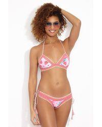 RINIKINI Eva Crochet Triangle Bikini Top - Pink