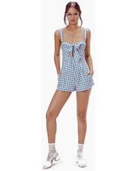 For Love & Lemons Dixie Front Knot Cut Out Romper - Blue & White Gingham Print