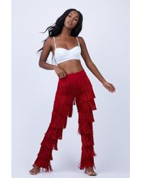Norma Kamali All Over Fringe Boot Trousers - Red