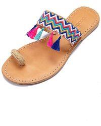 Cocobelle Fez Tassel Braided Toe Ring Sandals - Blue