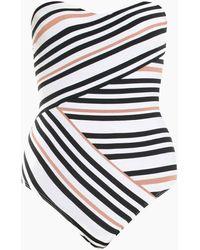 Jets by Jessika Allen Bandeau One Piece Swimsuit - Black/white Stripe Print