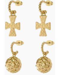 Luv Aj The Hammered Cross + Ball Hoop Earrings (set Of 4) - Gold - Metallic