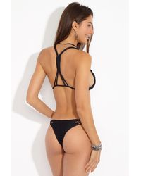 Acacia Swimwear Molokini Crochet Strappy Low Rise Bikini Bottom - Black