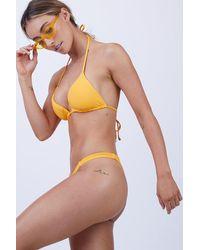 Vitamin A Carmen Ribbed Low Rise Bikini Bottom - Yellow