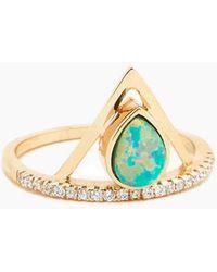 Elizabeth Stone Pave Triangle Ring - Aqua Opal - Metallic