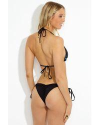 Beach Bunny Siren Song Tie Side Bikini Bottom - Green Ombre Print/black