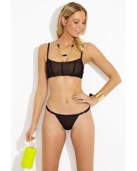 Beach Bunny Ava Mesh Bralette Bikini Top - Black