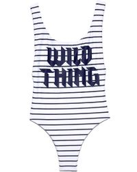 Wildfox | Candice One Piece - White Navy Pinstripe | Lyst