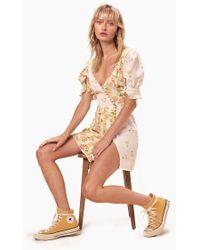 For Love & Lemons Savannah Wrap Puffy Sleeves Mini Dress - Buttercreme Yellow Floral Print - Multicolour