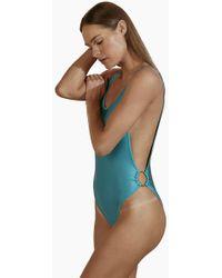 Agua de Coco Brazilian Cut Out Ring Sides One Piece Swimsuit - Blue