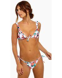 ViX Ruffle Front Tie Triangle Bikini Top - Multicolour