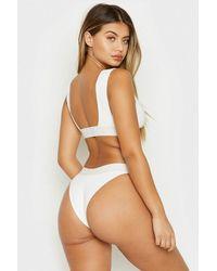 Frankie's Bikinis Drew Ribbed Wide Band Bikini Bottom - White