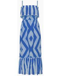 lemlem Biruhi Ruffle Tier Maxi Dress - Blue