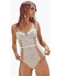 For Love & Lemons Lolita Sweetheart Lace Belted One Piece Swimsuit - White