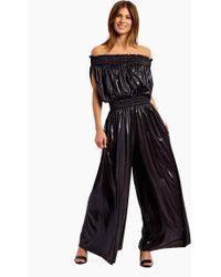 Norma Kamali Sleeveless Off The Shoulder Peasant Jumpsuit - Black