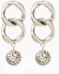 Luv Aj The Chain Link Hammered Ball Drop Earrings - Silver - Metallic