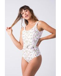 Verde Limon - Mito Tie Belt One Piece Swimsuit - White Blossom - Lyst