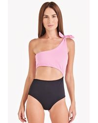 Triya Maui Colour Block One Shoulder Cut Out One Piece Swimsuit - Pink